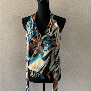 Cache silky multi colored sleeveless top